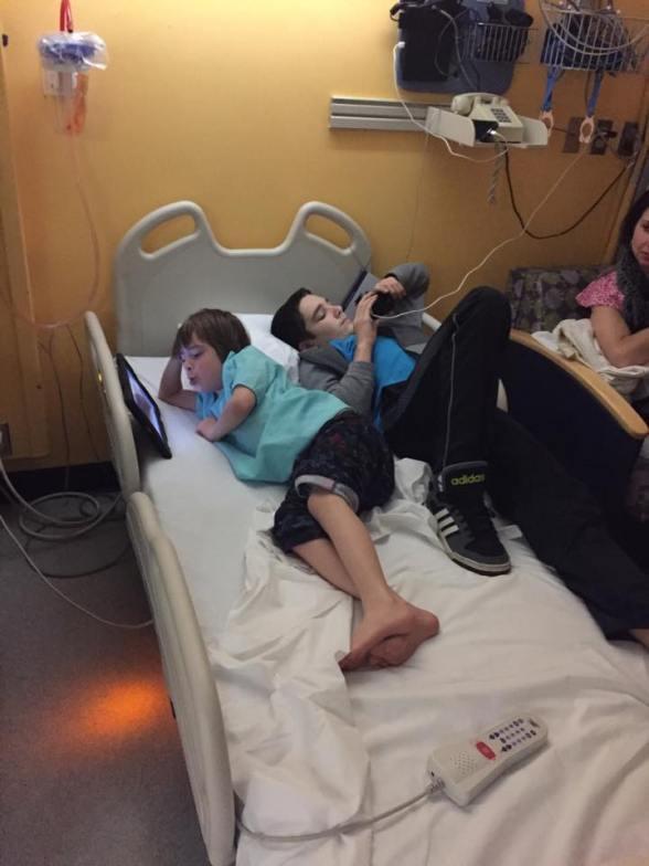 Luke and Sean in hospital