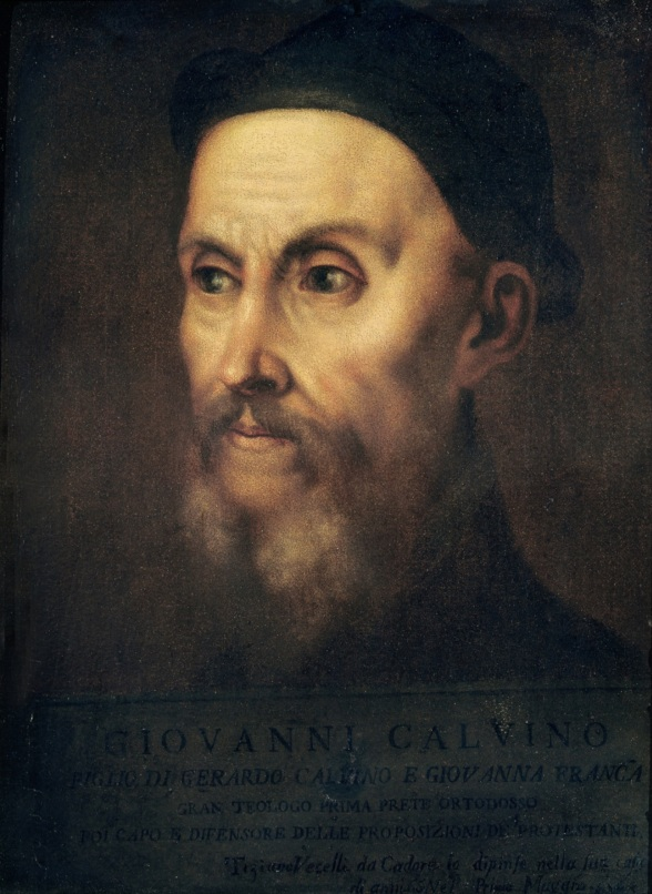 Portrait of John Calvin (1509-64) (oil on canvas)